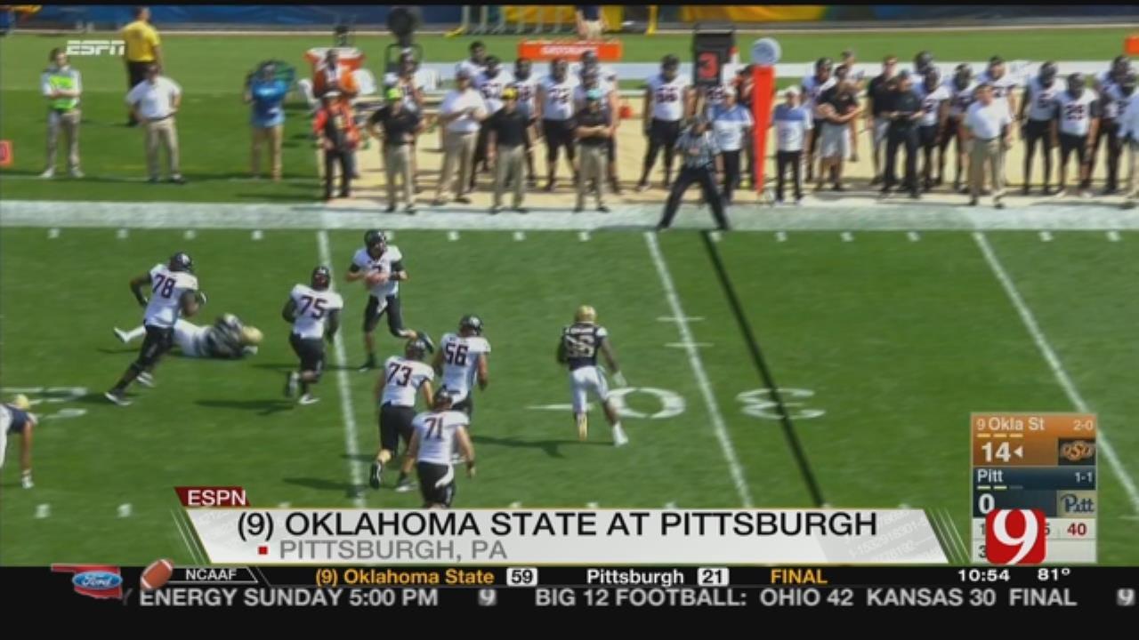 Rudolph Throws 5 TDs, No. 9 Oklahoma State Drills Pitt 59-21