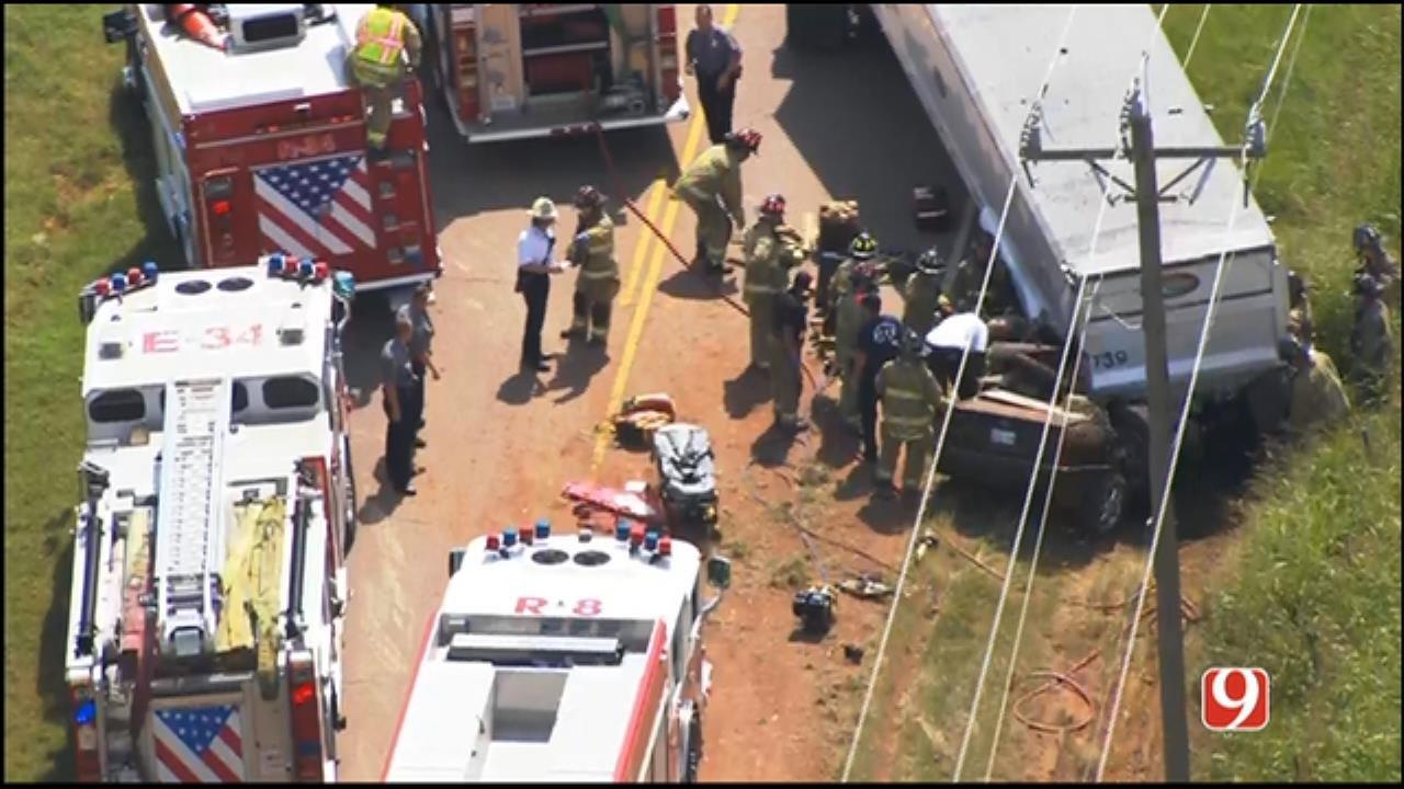 WEB EXTRA: SkyNews 9 Flies Over Double-Fatal Crash In Far NW OKC