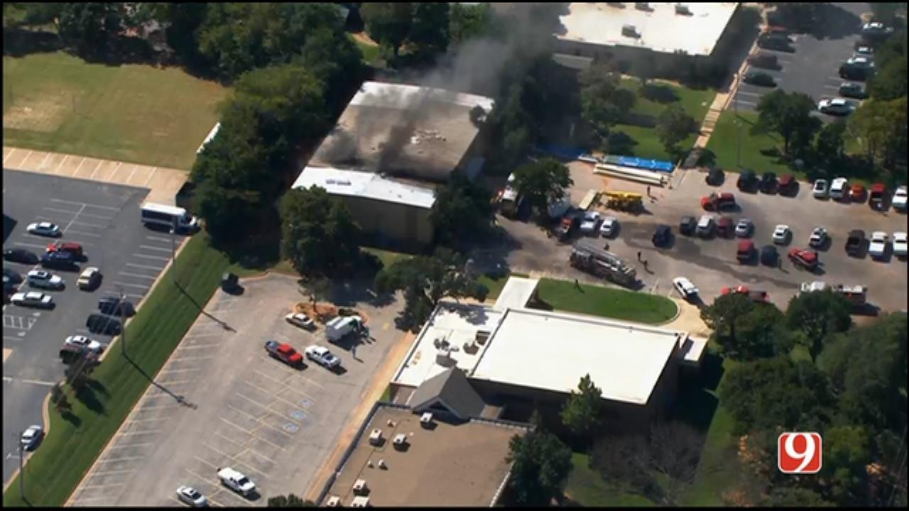 WEB EXTRA: Bob Mills SkyNews 9 Flies Over Edmond Church Fire