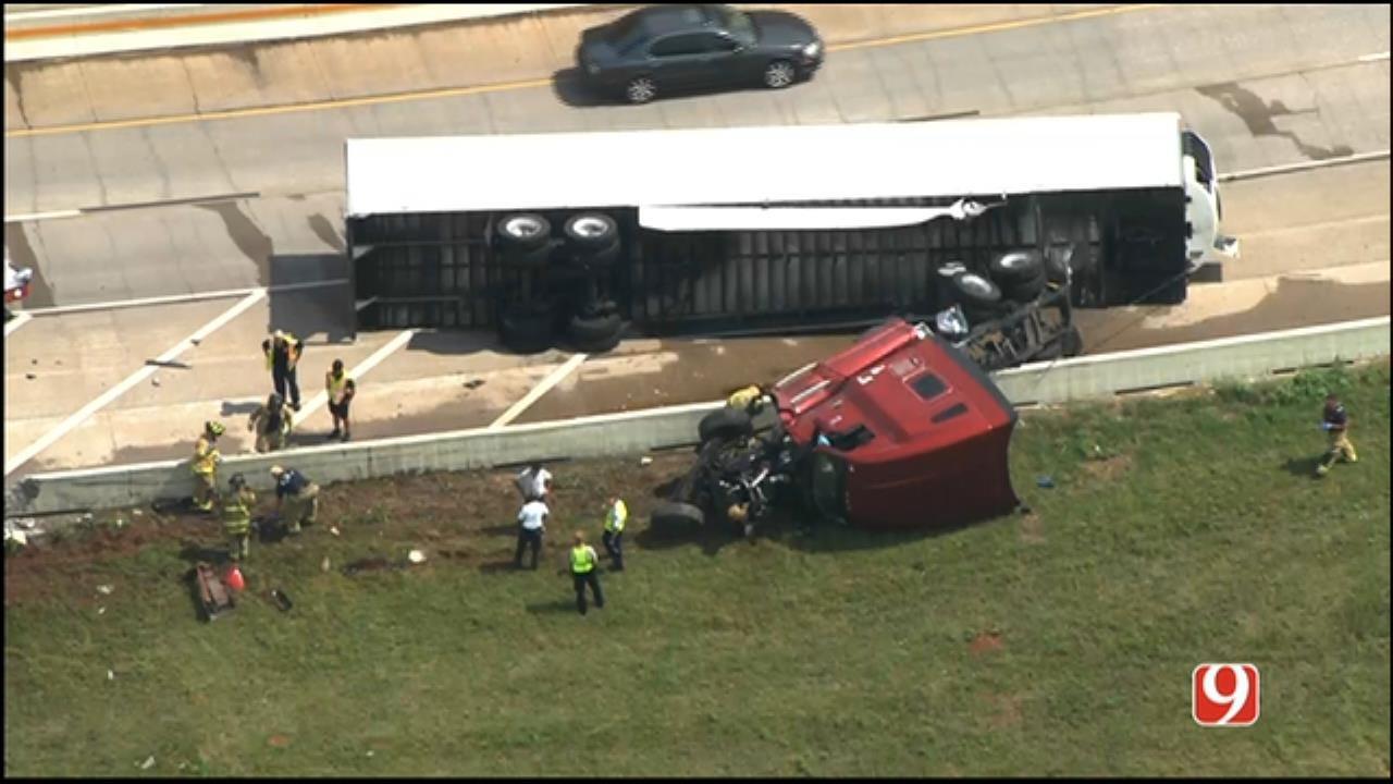 WEB EXTRA: Rollover Crash Near On WB I-40 Near NB I-35