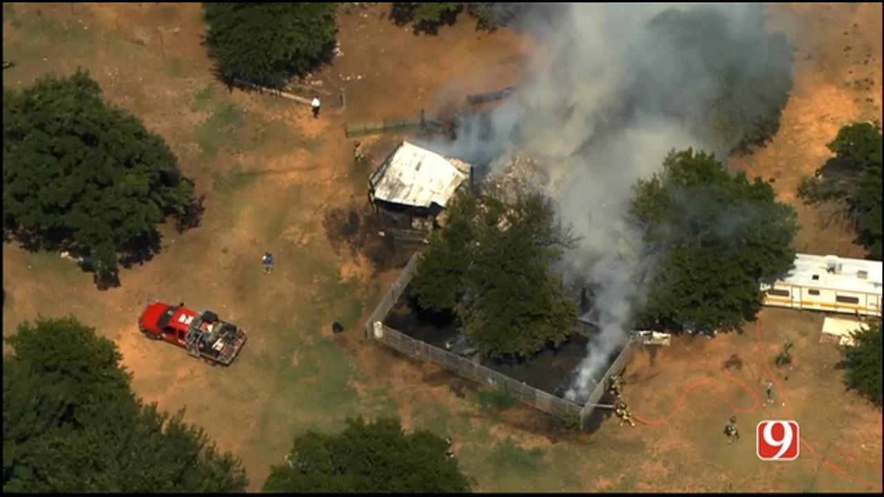 WEB EXTRA: Bob Mills SkyNews 9 Flies Over Barn, Hay Fire In NE OKC
