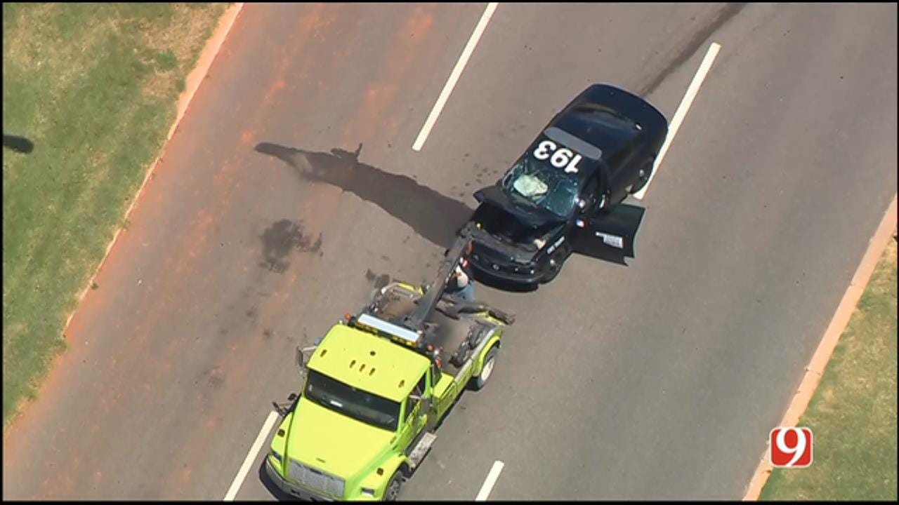WEB EXTRA: SkyNews 9 Flies Over Crash Involving OHP Trooper In NE OKC