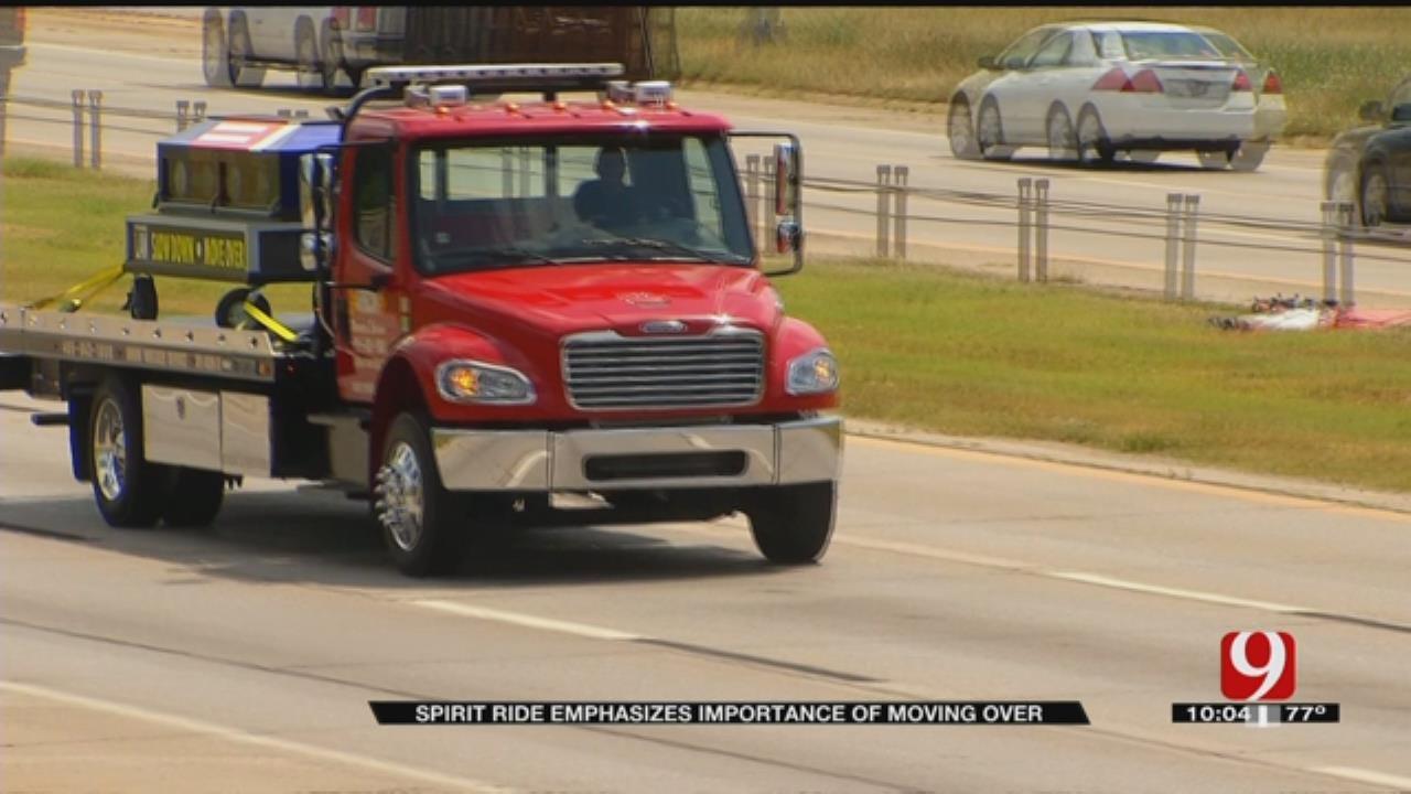 OKC Tow Trucks Escort Casket To Raise Awareness About Highway Safety