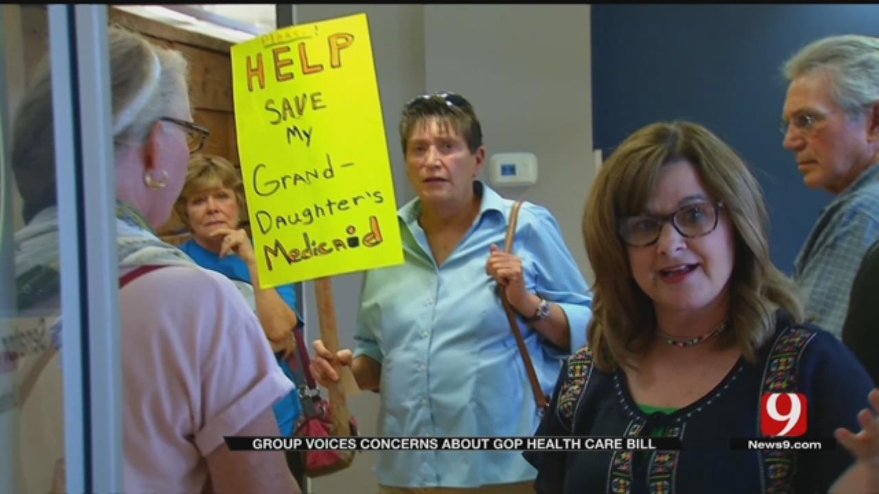 Demonstrators Question Healthcare Bill At Sen. Lankford's Office