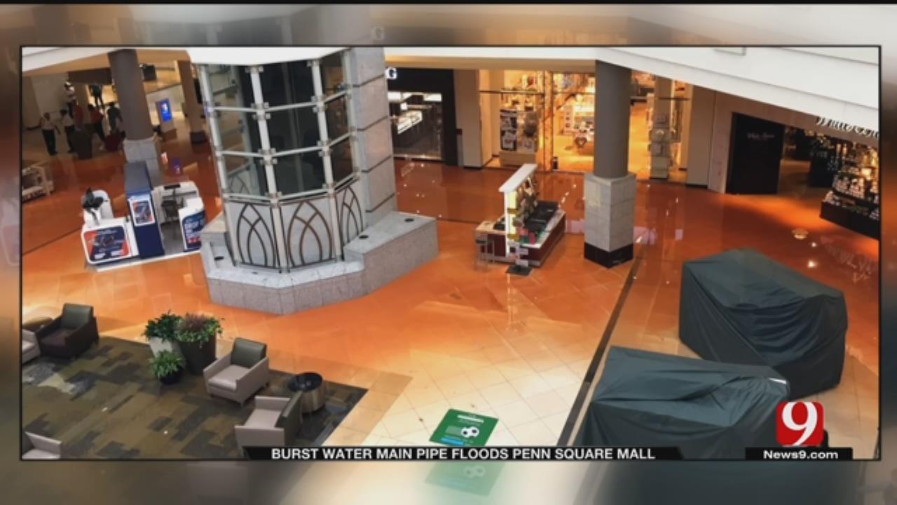 Flooding Surges Onto Bottom Floor Of Penn Square Mall