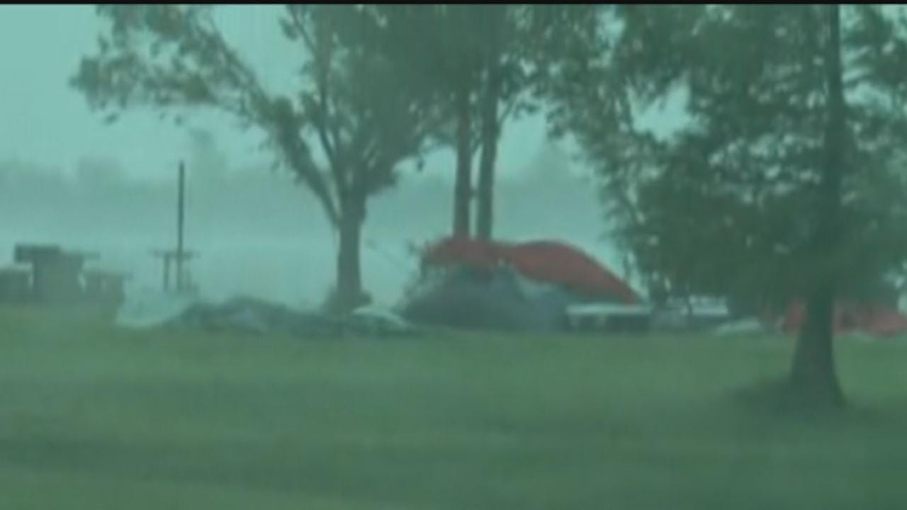 High Winds Hit Campsites At Ft. Supply Lake