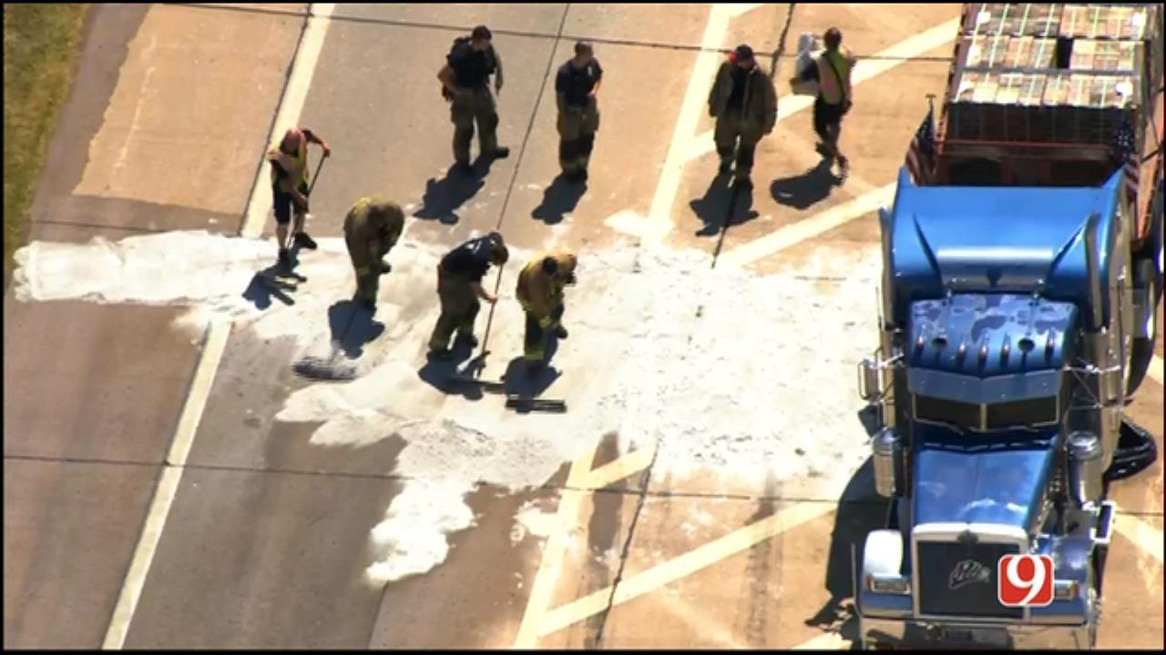 Emergency Crews At Scene Of Kilpatrick Turnpike Fuel Spill