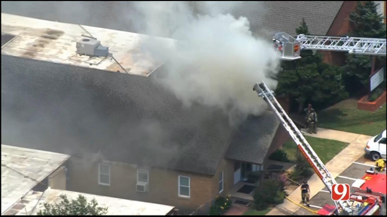 WEB EXTRA: Bob Mills SkyNews 9 Flies Over Norman Church Fire