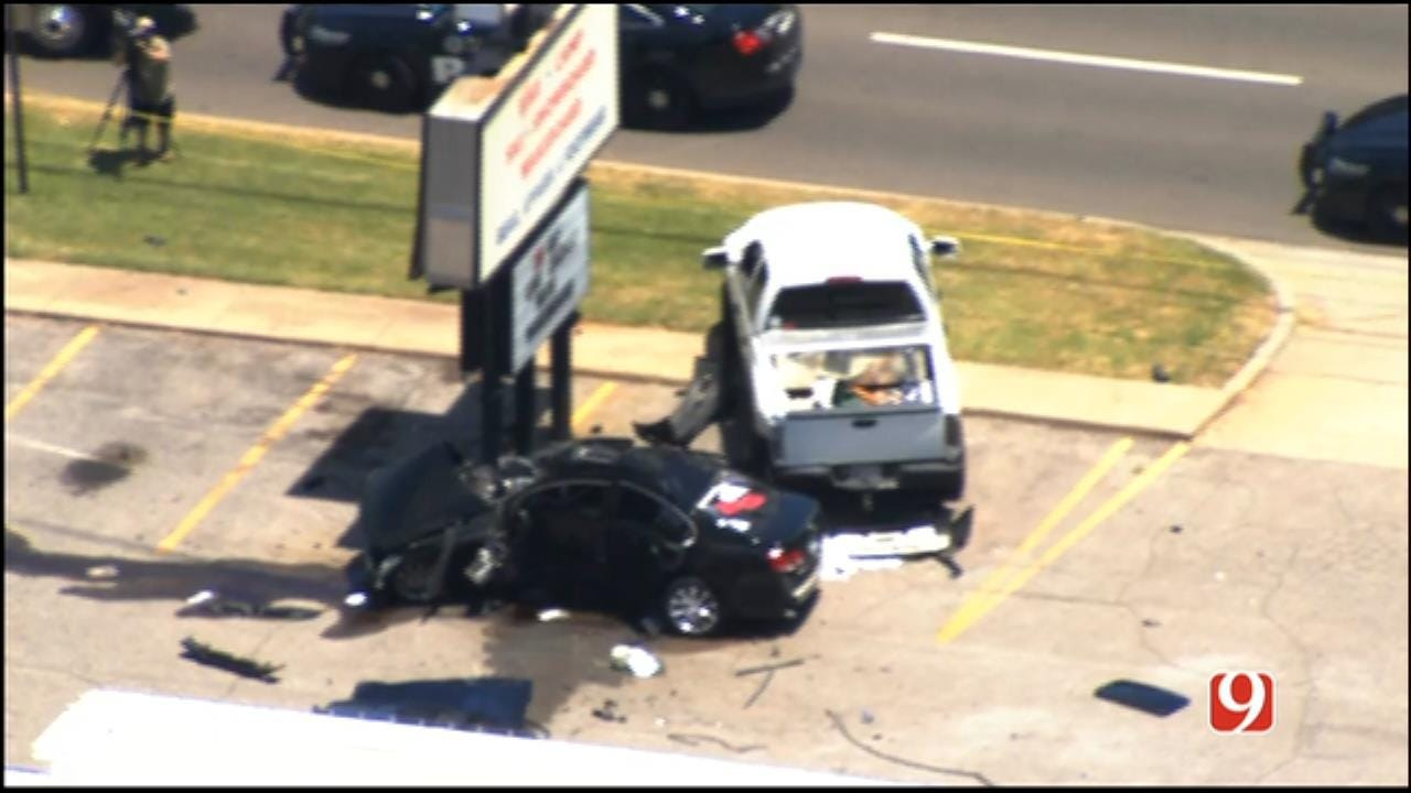 WEB EXTRA: SkyNews 9 Flies Over End Of Chase, Crash In NW OKC