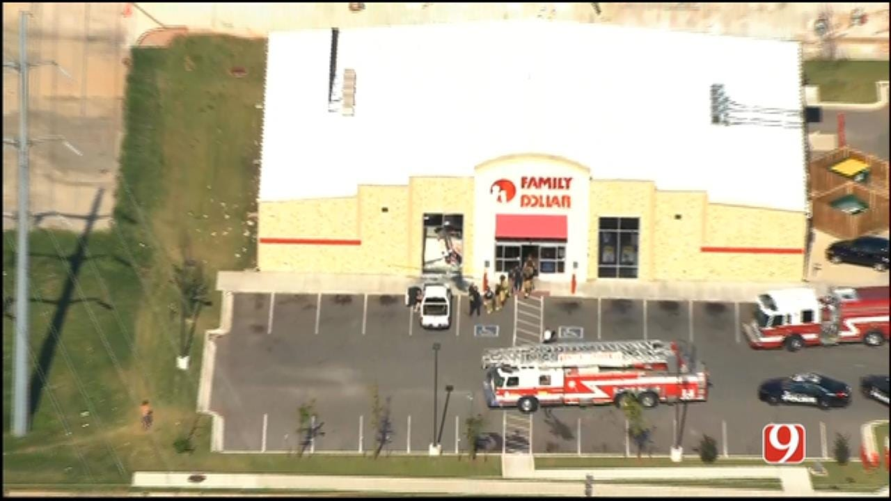 WEB EXTRA: SkyNews 9 Flies Over Vehicle Crashed Into NW OKC Family Dollar Store