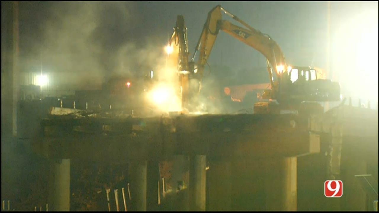 WEB EXTRA: Crews Demolish Bridge Over I-235
