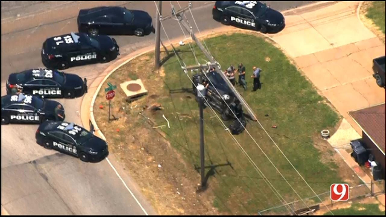Homicide Suspect Arrested Following Chase, Crash In NW OKC