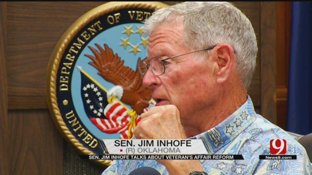 Sen. Jim Inhofe Holds News Conference To Discuss Efforts To Reform VA