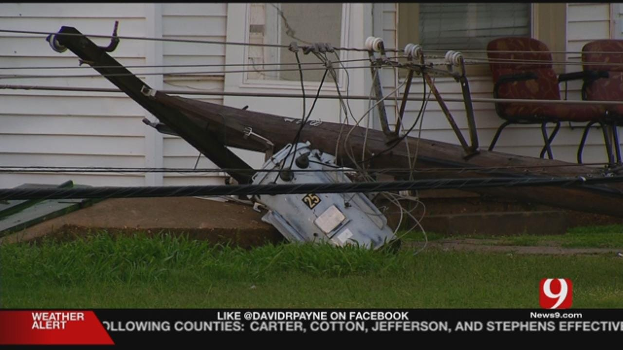 Several Power Poles Down In SE OKC