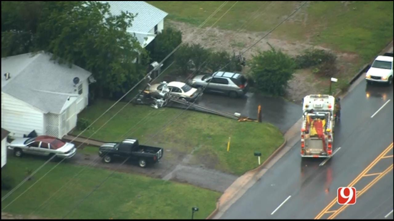WEB EXTRA: SkyNews 9 Flies Over Downed Power Poles In SE OKC