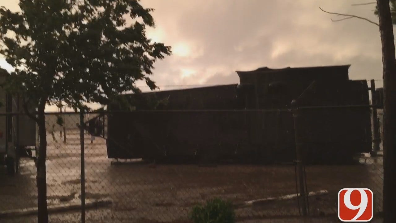 Winds Blow Over RVs In McClain County