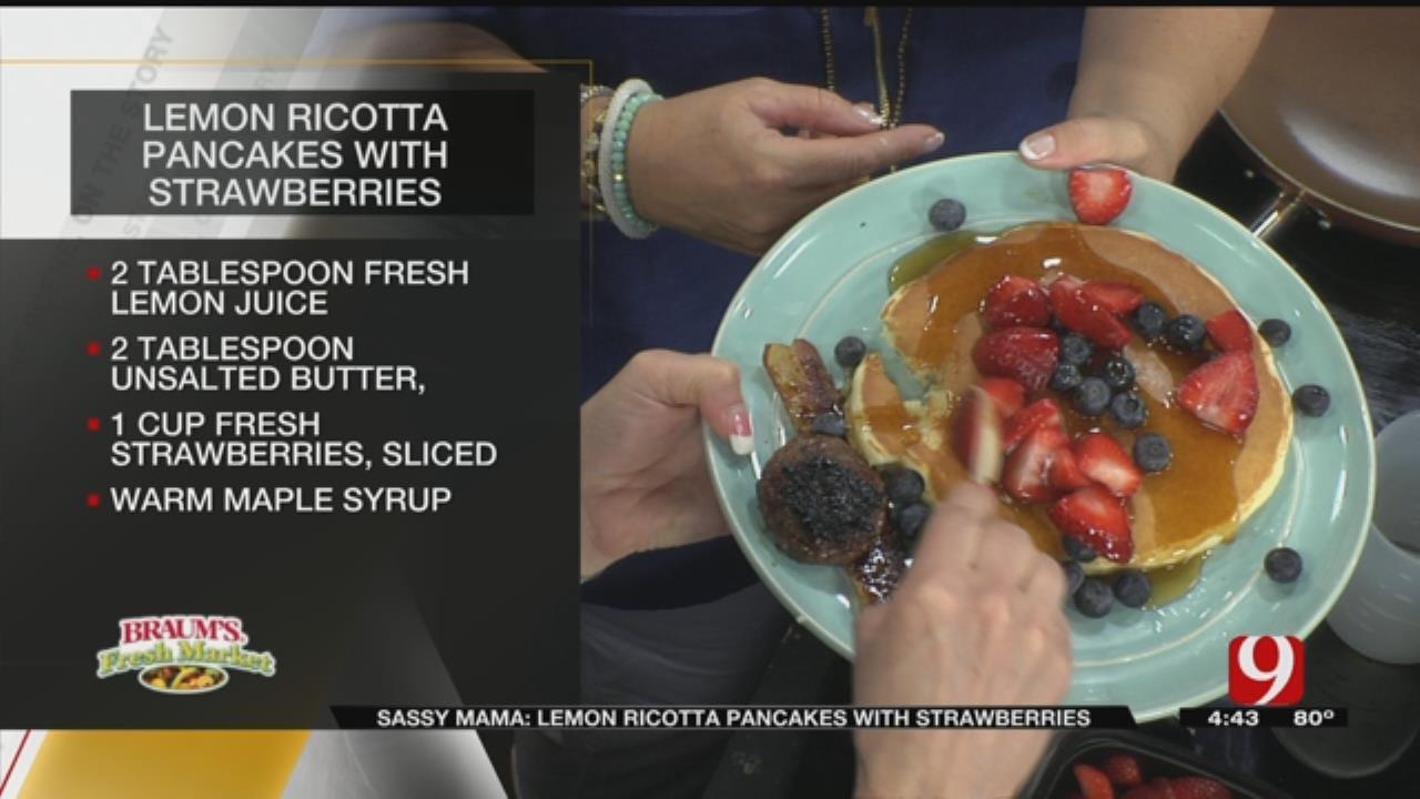 Lemon Ricotta Pancakes With Strawberries