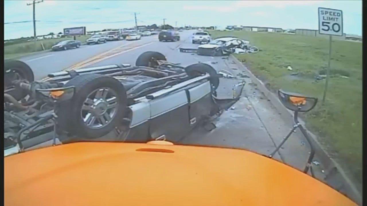 GRAPHIC: Edmond School Bus Captures Head-On Crash (Full Version)