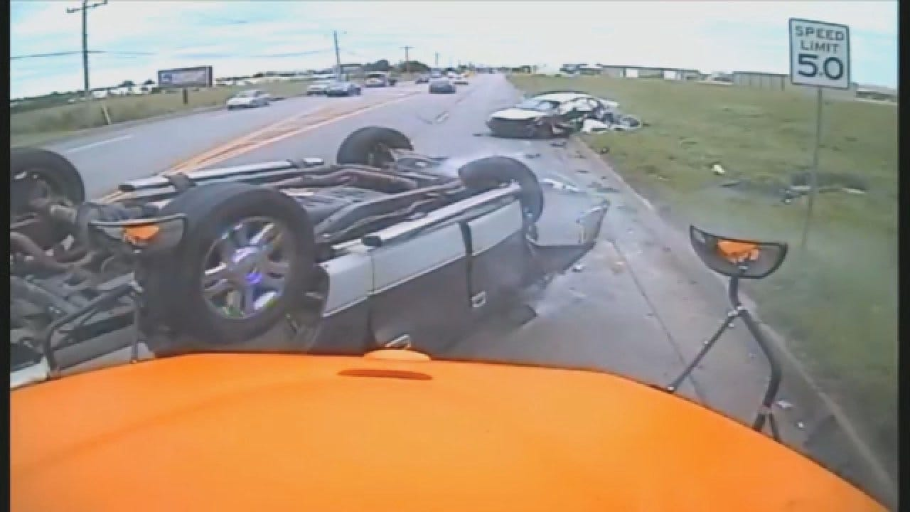 GRAPHIC: Edmond School Bus Captures Head-On Crash In NW OKC