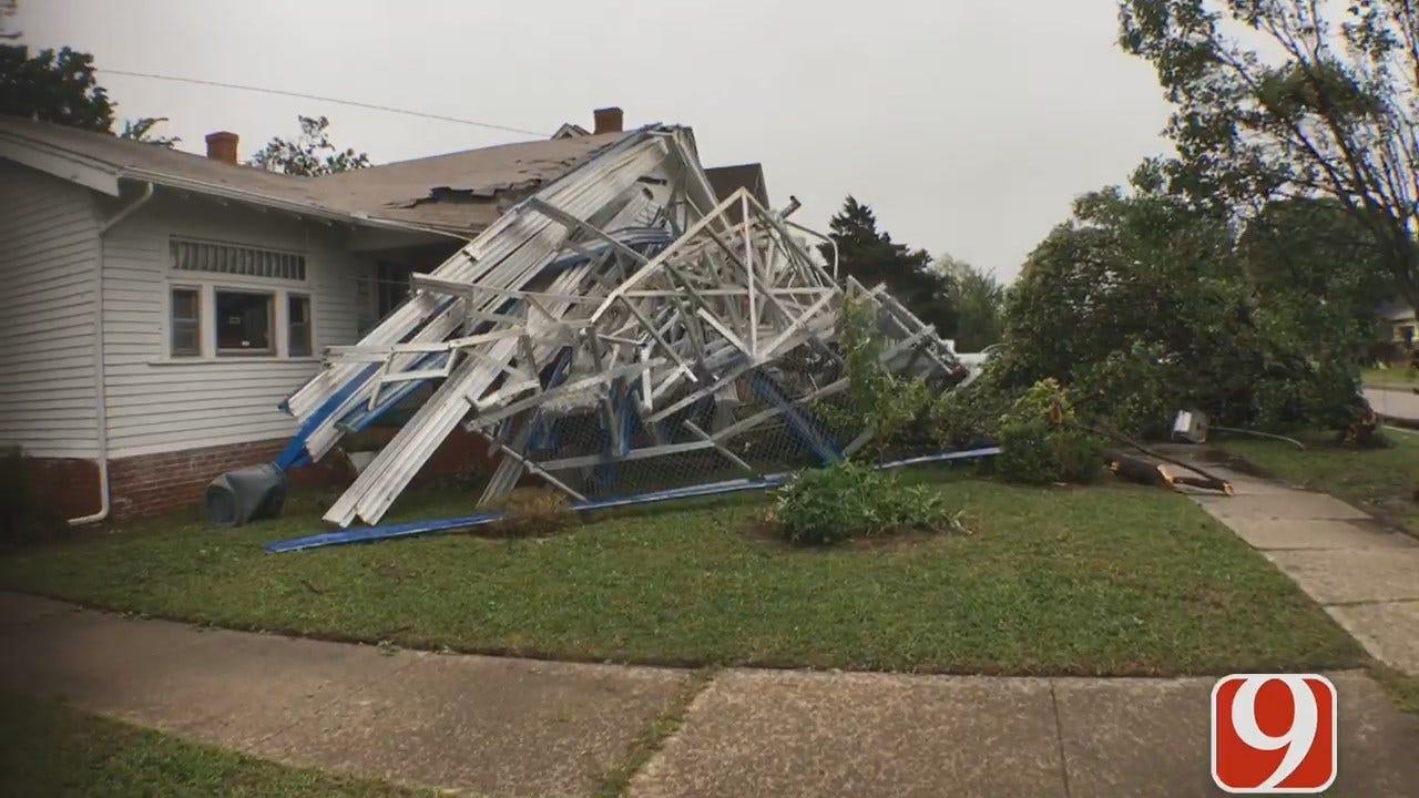 WEB EXTRA: Bleachers From OCU Soccer Fields Crash Into Neighbor's Home