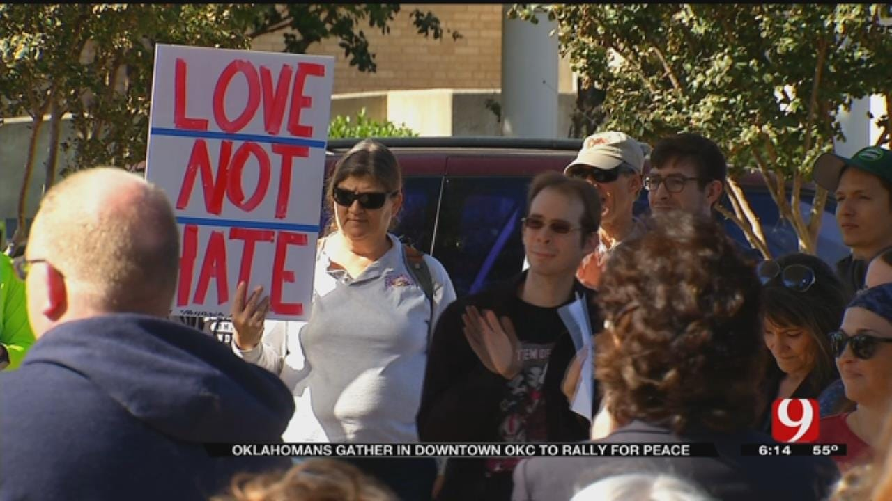 Oklahomans Gather In Downtown OKC To Rally For Peace