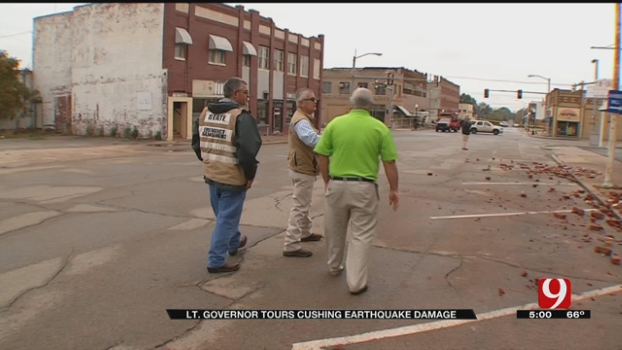 Lt. Governor Todd Lamb Tours Cushing Earthquake Damage