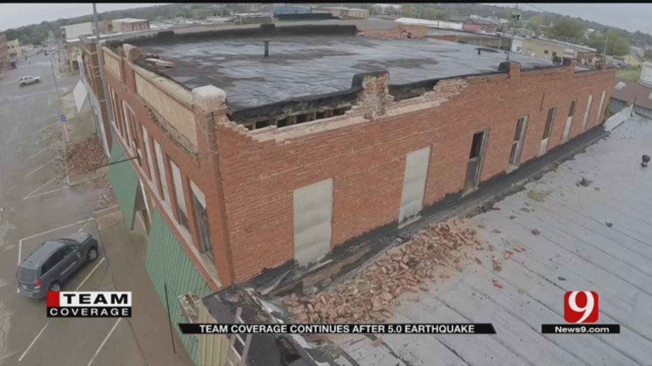 Cushing Earthquake Damage Revealed in Daylight