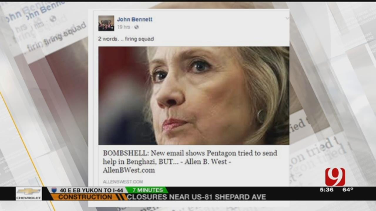 State Rep. Comments 'Firing Squad' Against Hillary Clinton On Post