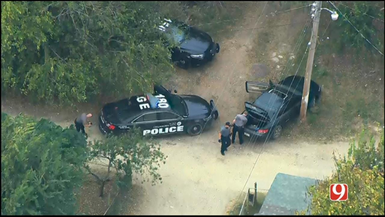 WEB EXTRA: Bob Mills SkyNews 9 Flies Over Scene Where Chase Suspect Crashed Into Pole