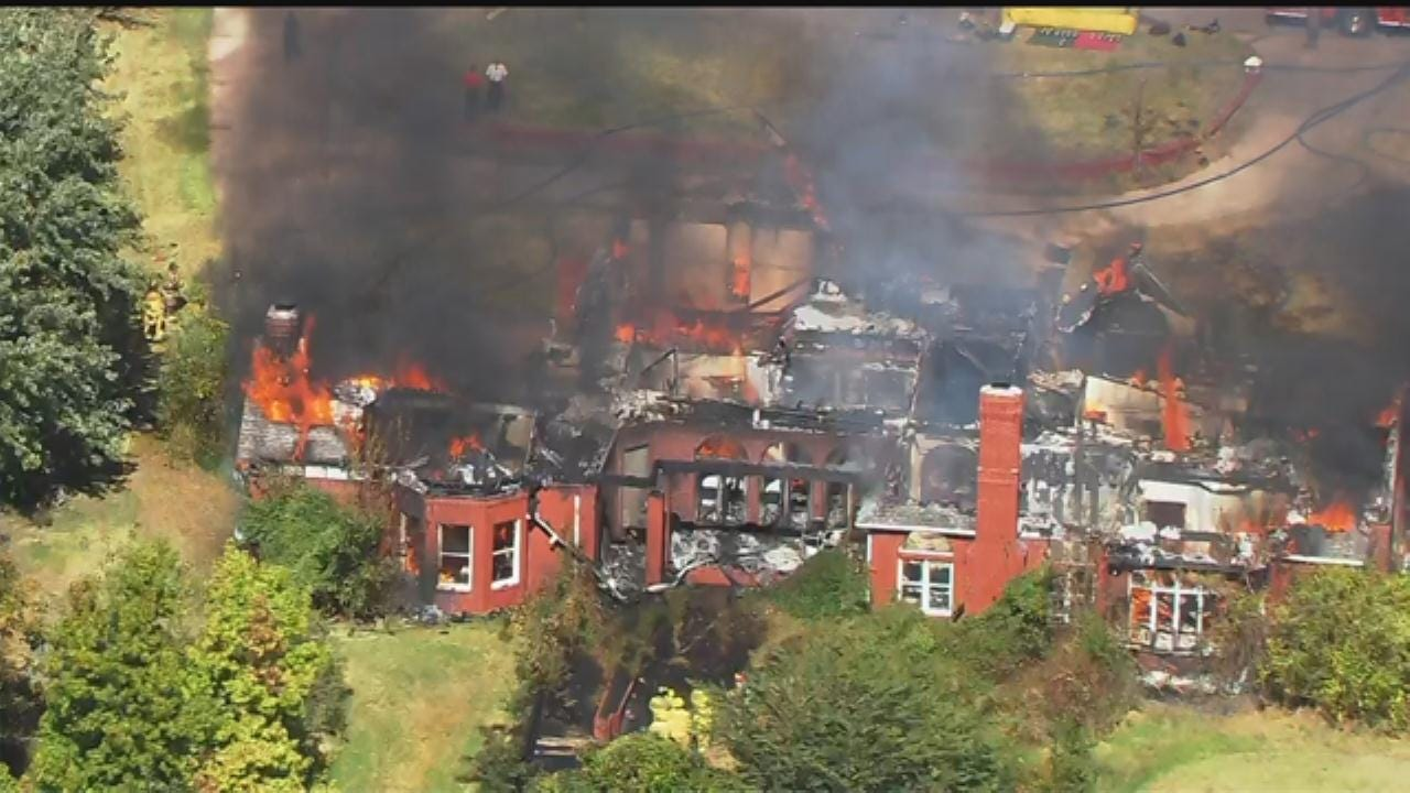 WEB EXTRA: SkyNews 9 Flies Over House Fire On North Side Of Norman