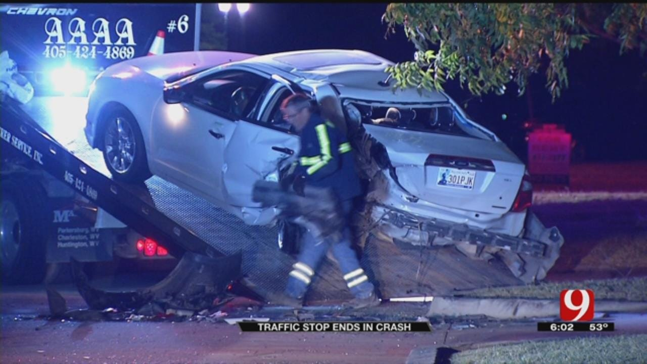 Traffic Stop Ends In Crash In NW OKC