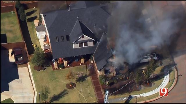 WEB EXTRA: SkyNews 9 Flies Over Large House Fire In NW OKC