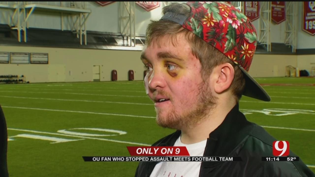 OU Fan Who Stopped Assault Meets Football Team