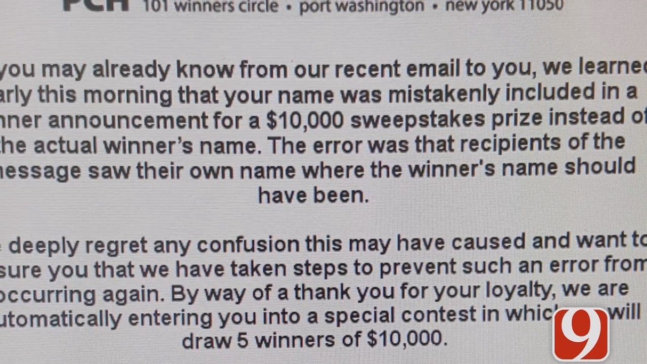 WEB EXTRA: Publishers Clearing House Says It Mistakenly Sent Oklahomans Winning Emails