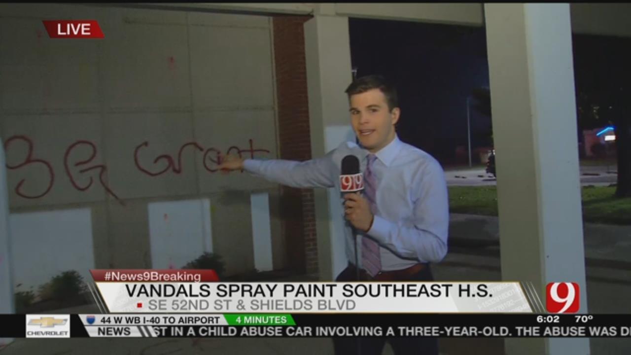 Southeast (OKC) HS Vandalized With Graffiti