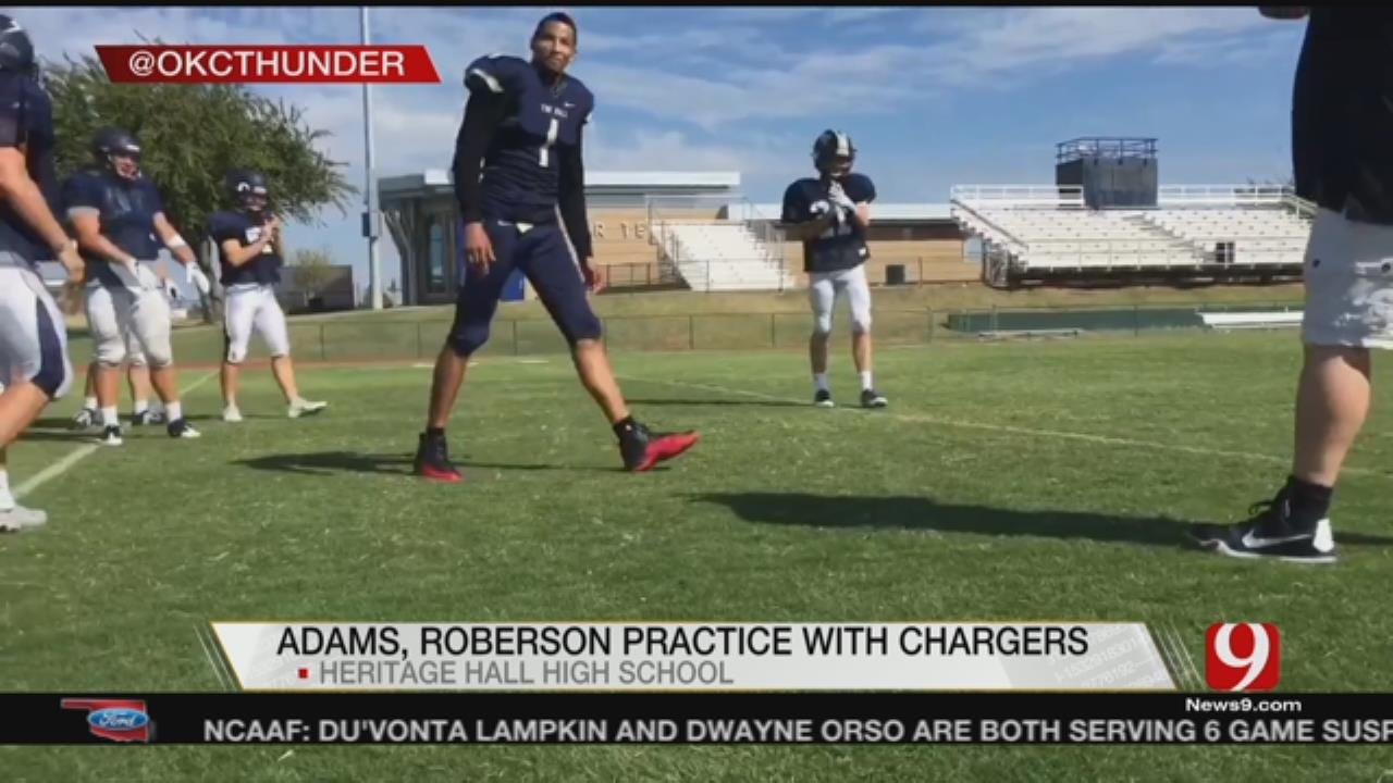 Adams, Roberson Practice With Heritage Hall