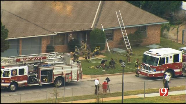 WEB EXTRA: SkyNews 9 Flies Over Vacant House Fire In SW OKC