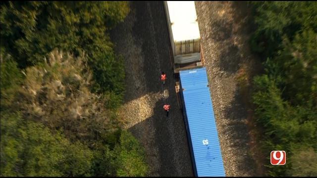 WEB EXTRA: SkyNews 9 Flies Over Deadly Pedestrian-Train Crash In Norman