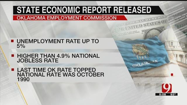Oklahoma Unemployment Exceeds National Rate First Time In 26 Years