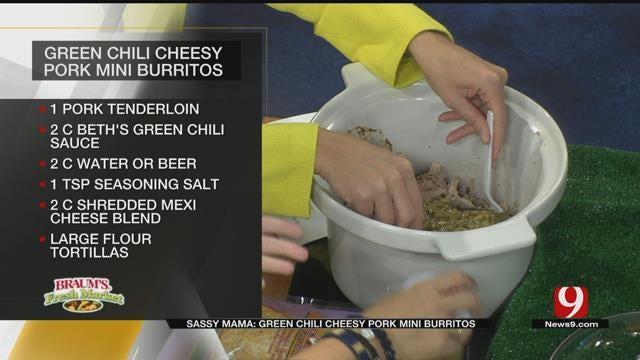 Green Chili Cheesy Pork Mini Burritos