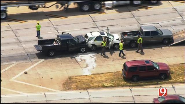 WEB EXTRA: SkyNews 9 Flies Over 4-Car Pileup On WB I-40