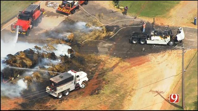 WEB EXTRA: SkyNews 9 Flies Over Truck Fire East Of Guthrie