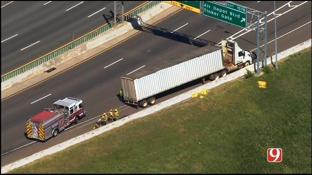 WEB EXTRA: SkyNews 9 Flies Over Traffic Incident On EB I-40 In MWC