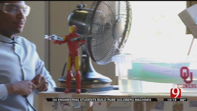 OU Engineering Students Build 'Rube Goldberg' Machines