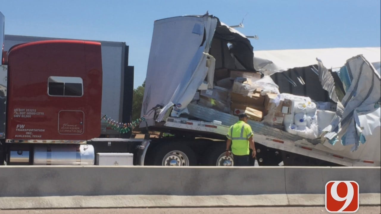Crash Involving Semi Causes Big Backup On NB I-35 In Moore