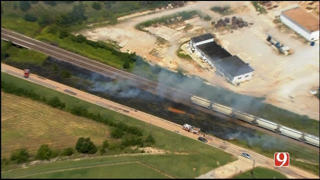 WEB EXTRA: SkyNews 9 Flies Over Grass Fire In SW OKC