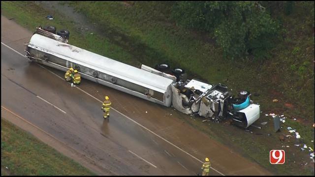WEB EXTRA: Bob Mills SkyNews 9 Flies Over Overturned Semi-Truck In Logan Co.