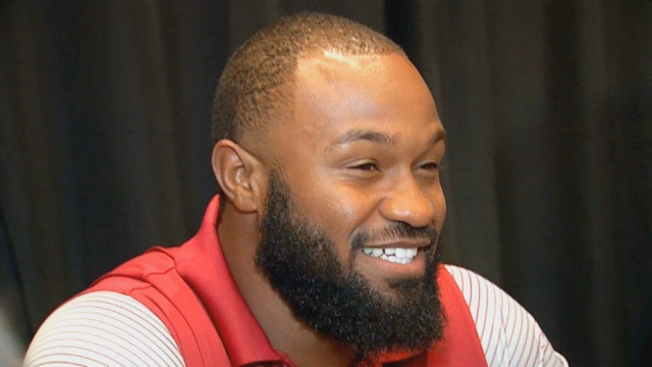 OU Running Back Samaje Perine Talks With Reporters at Big 12 Media Day