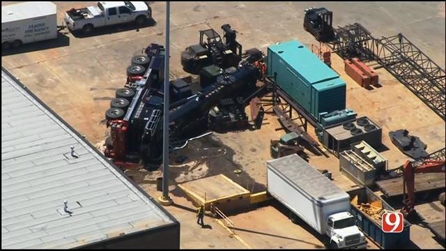WEB EXTRA: SkyNews 9 Flies Over Crane Collapse In West OKC