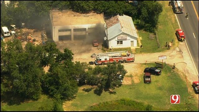 WEB EXTRA: SkyNews 9 Flies Over Commercial Fire In NE OKC